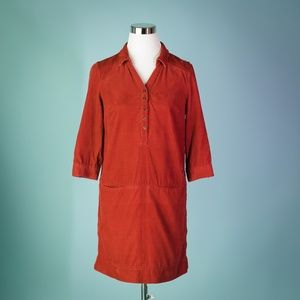 Anthropologie Odille 2 Rust Red Corduroy Dress